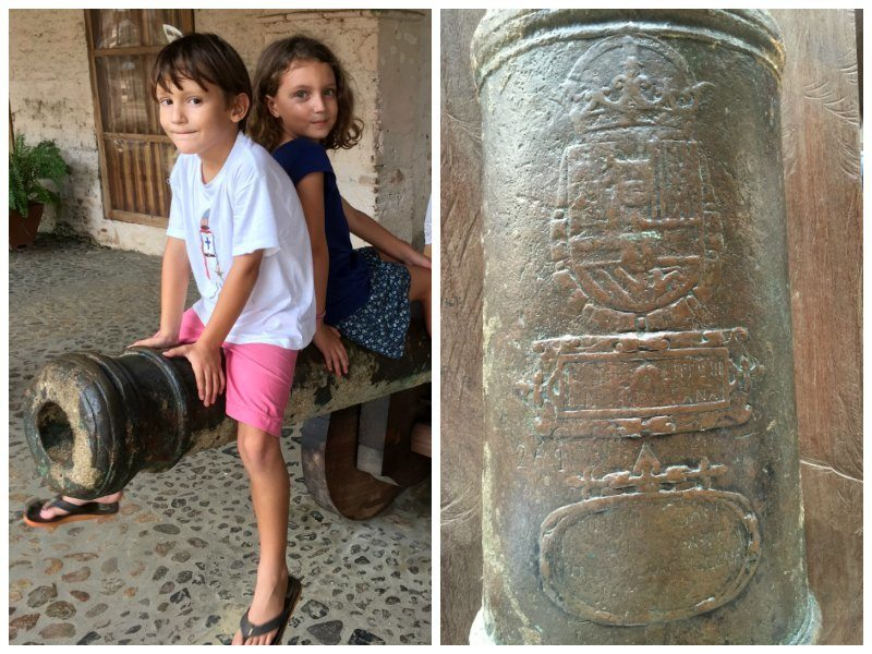 Panama with kids: The cannon outside the Custom's House