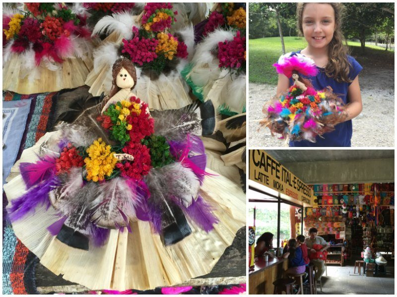 Guatemala with kids: Dolls made out of leaves, flowers and feathers from Tikal