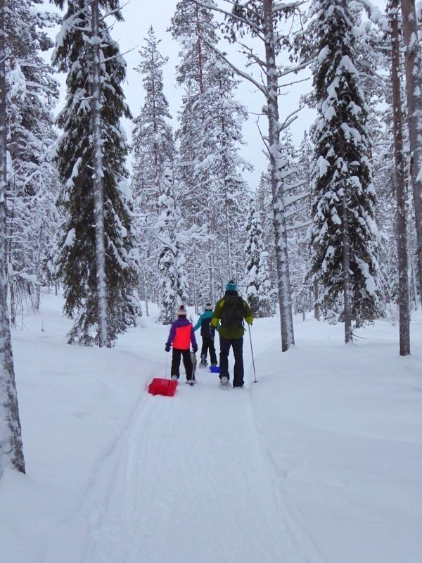 Snowshoeing with kids in Finland