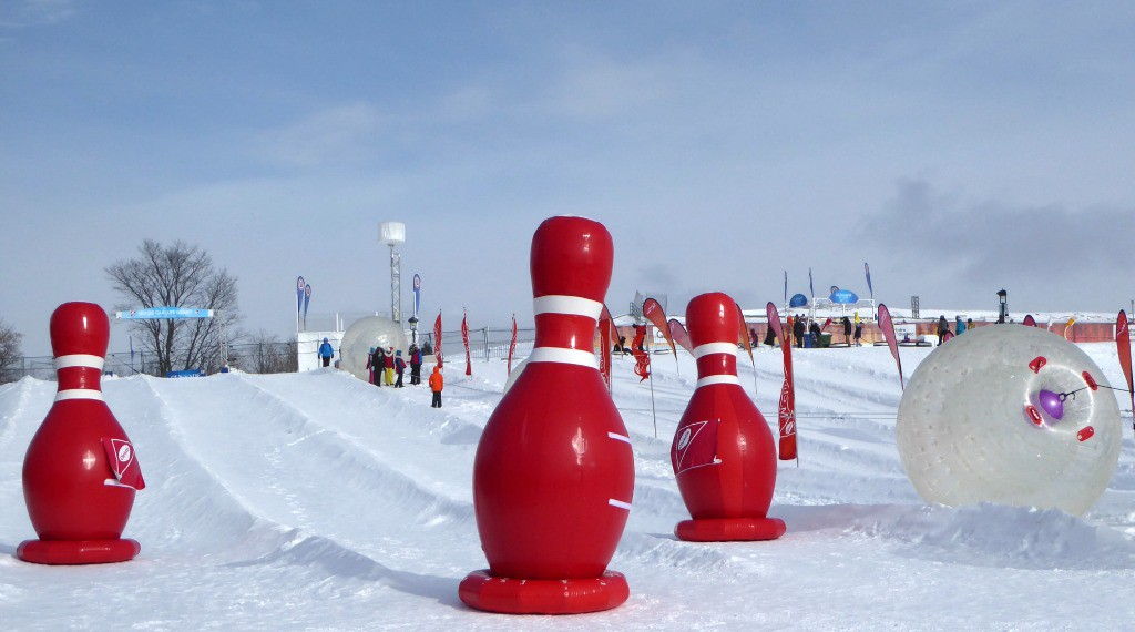 Image of human bowling at the Quebec Winter Carnival