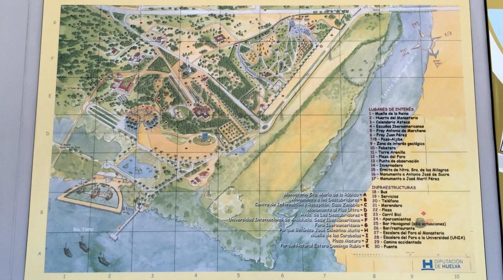 Map of the Muelle de las Carabelas and La Rabida
