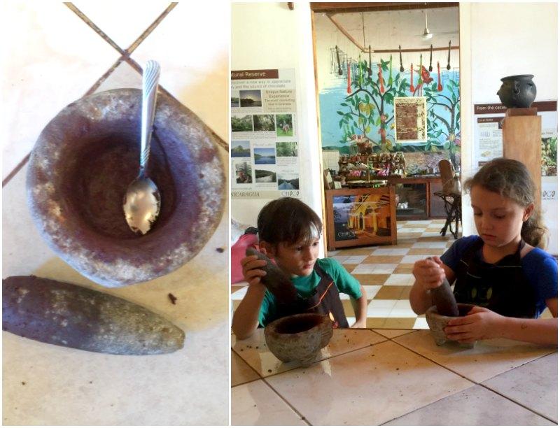 Choco Museo: Grinding the nibs. Granada. Nicaragua with Kids