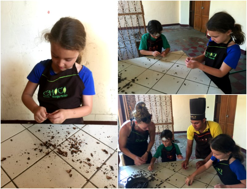 Choco Museo: Winnowing the roasted beans. Nicaragua with kids