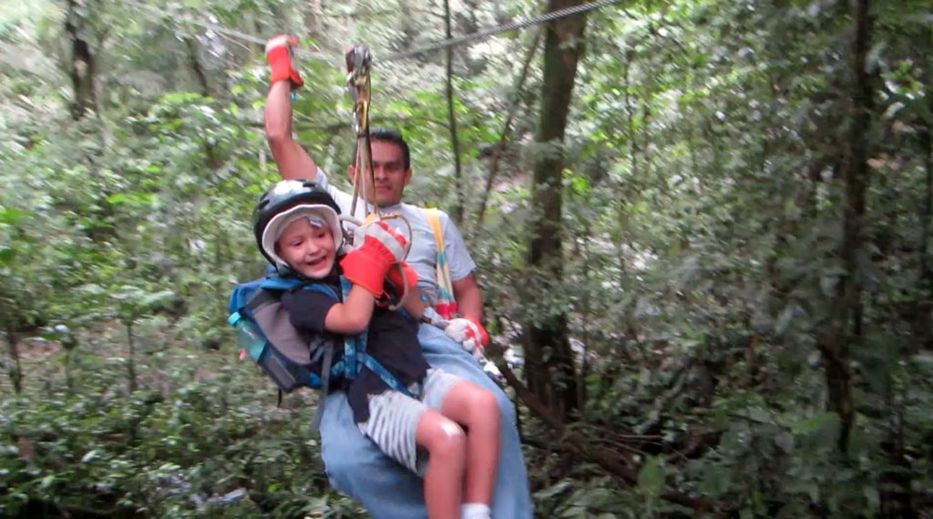 Zip lining over waterfalls in El Valle de Anton, Panama