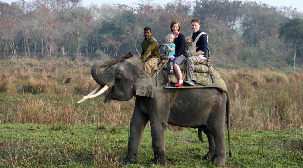 Family on elephant 2