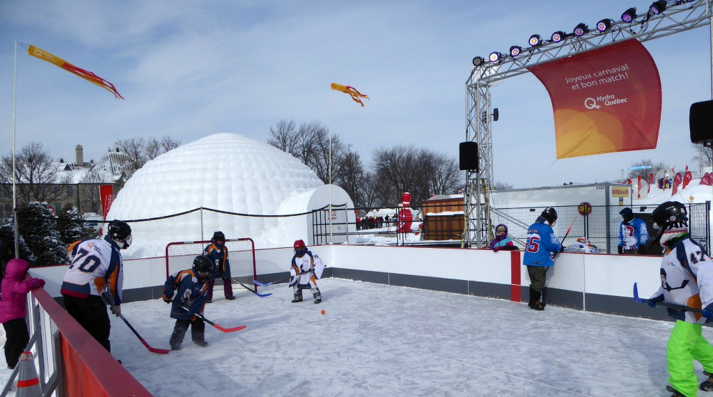 Image of mini ice hockey at the Quebec Winter Carnival