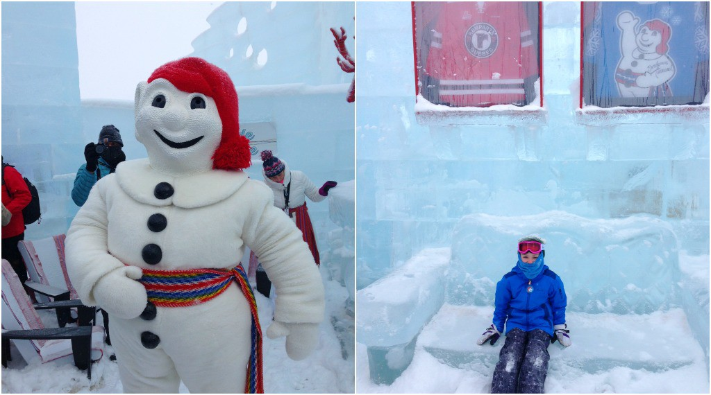 Image of Bonhomme in his Ice Palace at the Québec Winter Carnival