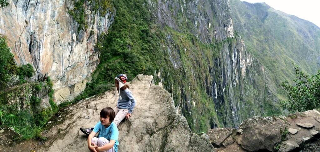The Inca bridge at Machu Picchu. With kids