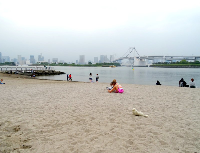 Tokyo with kids: There is a man-made beach a short walk from Legoland