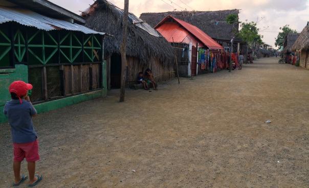 The Kuna village on a neighbouring island