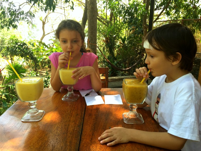Nicaragua with Kids: The fabulous smoothies at Laguna Beach Club on Lake Apoyo