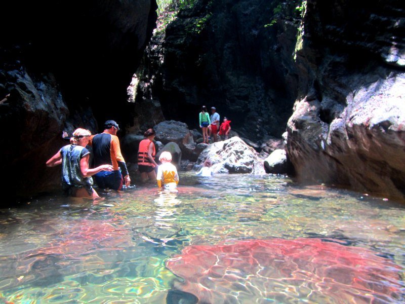 Panama snake adventure: Wading through the caves in Lake Bayano with kids
