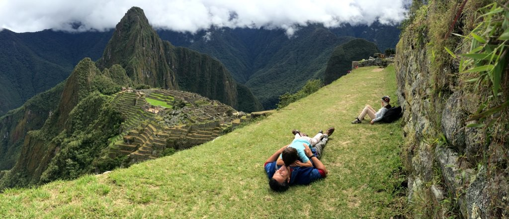 Stopping for a rest and wrestle in Machu Picchu.