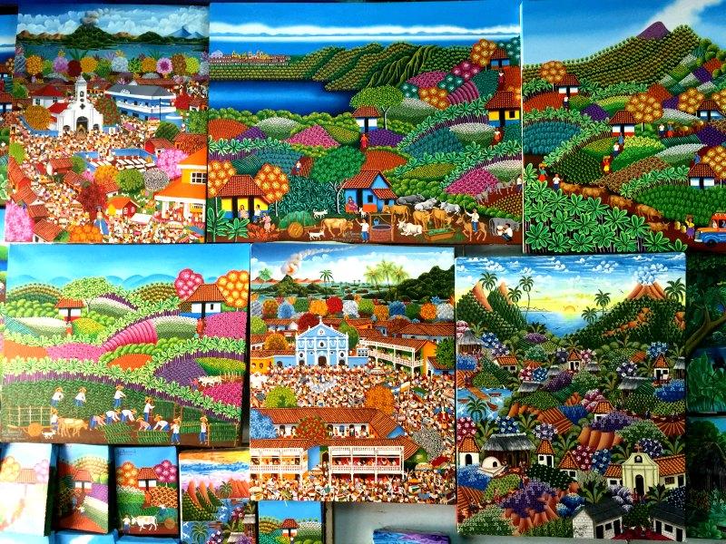 Nicaragua With Kids: Paintings by Luis Alvarado in Masaya Artisan Market