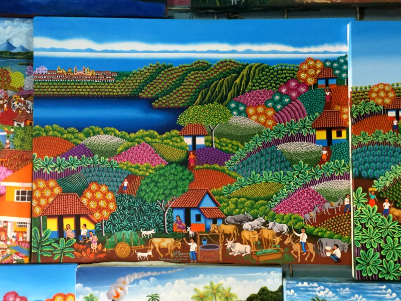 Nicaragua with Kids: Masaya Market painting: Located near Granada, Masaya is famous for its handicrafts and active volcano