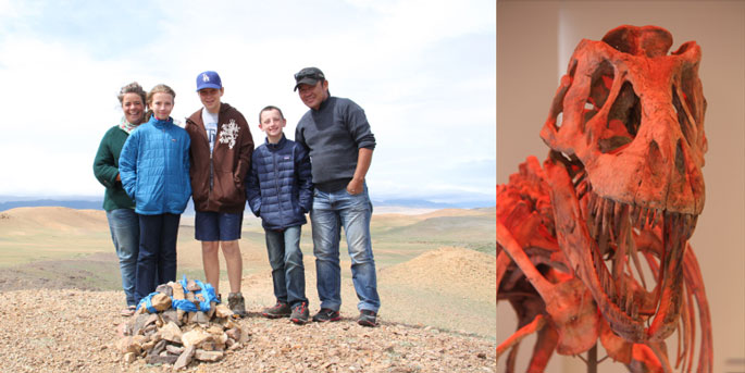 The kids with our guides and the T Rex skeleton. Mongolia