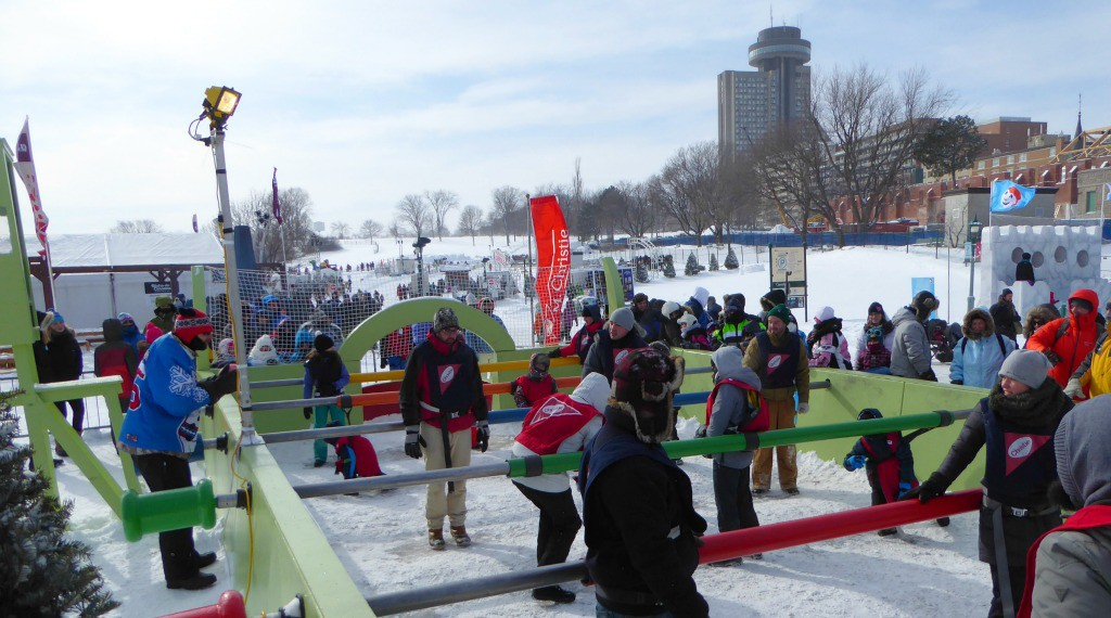 Image of human football at the Quebec Winter Carnival
