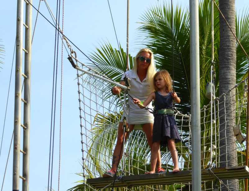 Getting ready to swing on the trapeze!