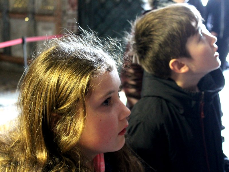 Jack and Tess gazing at the inside of the church