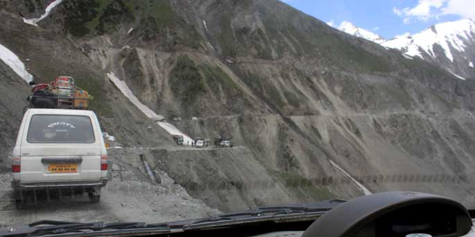 The road in between is stunning and terrifying, Srinagar to Leh