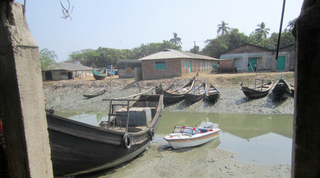 Our speedboat parked in the harbour on return from St. Martins. Bangladesh
