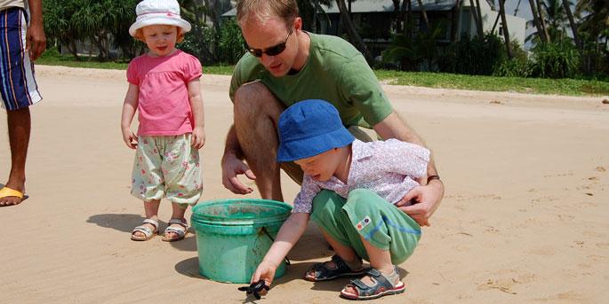 Releasing baby turtles into the ocean, Sri Lanka